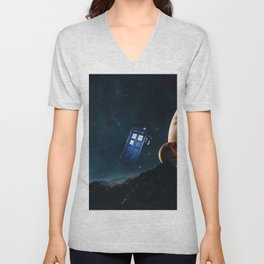 tardis doctor who Unisex V-Neck