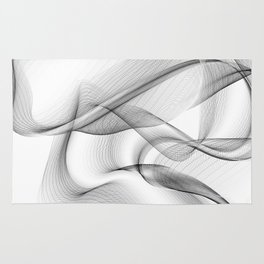 Minimal black and white smoky flux in motion #abstractart #decor Rug