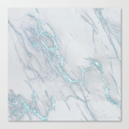 Marble Love Sea Blue Metallic Canvas Print