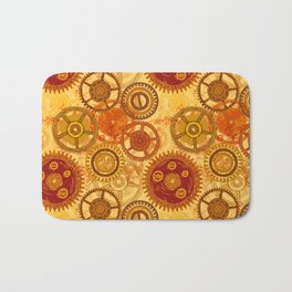 Vintage seamless pattern with gears of clockwork on aged paper background. Bath Mat