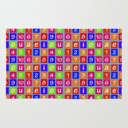 Numbers and Vowels Colorful Pattern Rug