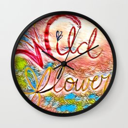 Pink Pastel Wildflower Wall Clock