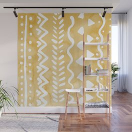 Loose bohemian pattern - yellow Wall Mural