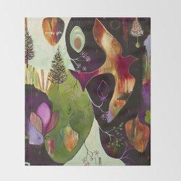 """Deep Peace"" Original Painting by Flora Bowley Throw Blanket"