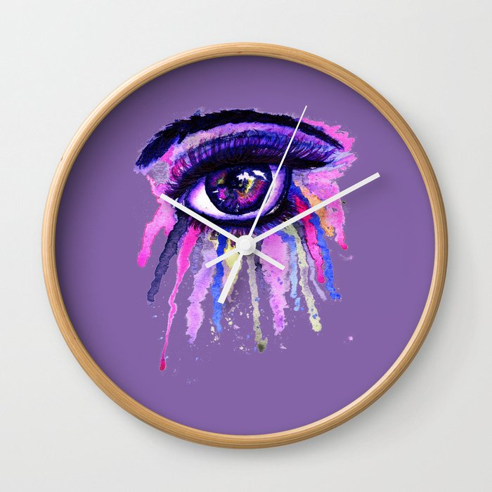 Rainbow Anime Eye Wall Clock