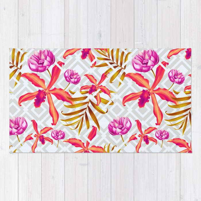 Bold & Bright Colored Tropical Flowers on Silver Trellis Rug
