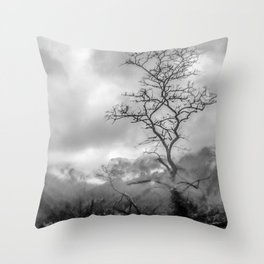 Mist in mountains Throw Pillow