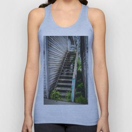 Rickety Stairs, False Front Building, Kathryn, North Dakota Unisex Tank Top