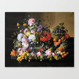 Vintage Varnish- Flowers&Fruit Canvas Print