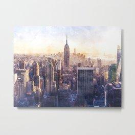 New York City Watercolor Skyline Metal Print