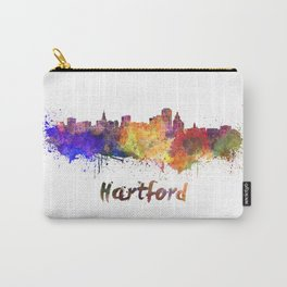 Hartford skyline in watercolor Carry-All Pouch