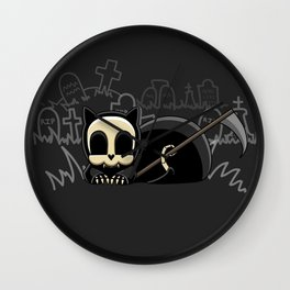 Grim Reapets - A Cat Named Coffin - Halloween Kitty Wall Clock