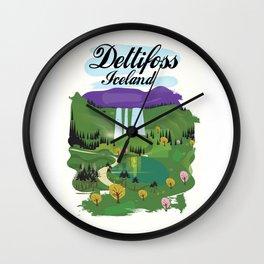 Dettifoss Icelandic holiday poster. Wall Clock