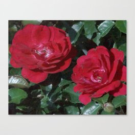 Red Rose Pair Canvas Print