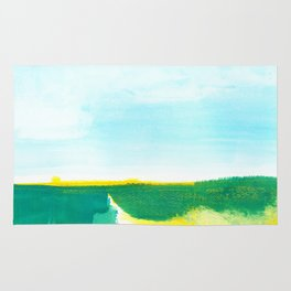 Distant forest abstract landscape Rug