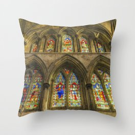 Rochester Cathedral Stained Glass Windows Art Throw Pillow
