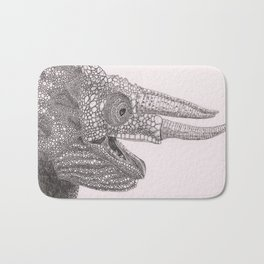 Happy Chameleon (pen and ink) Bath Mat