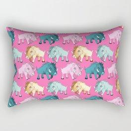 Cute Pink Kawaii Wild Boar Watercolor Pattern Print Rectangular Pillow