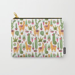 watercolor alpaca clique with cacti and succulents Carry-All Pouch