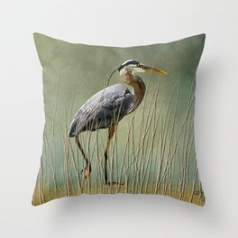 Great Blue At The Beach Throw Pillow