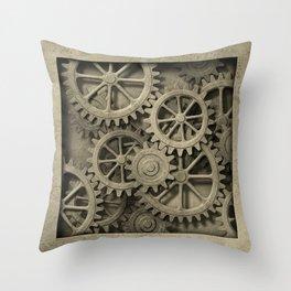 Steampunk Cogwheels Throw Pillow