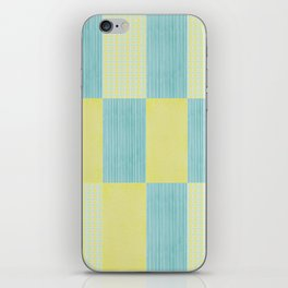 pale blue and yellow  iPhone Skin