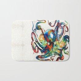 Colorful Octopus Art by Sharon Cummings Bath Mat