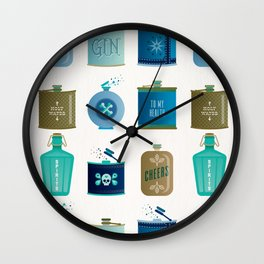 Flask Collection – Blue and Tan Palette Wall Clock