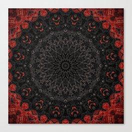Red and Black Bohemian Mandala Design Canvas Print