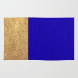 Color Blocked Gold & Cerulean Rug