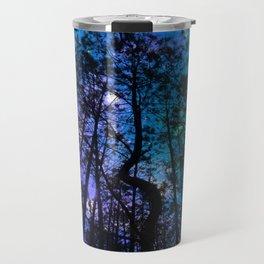 Black Trees Teal Purple Space Travel Mug