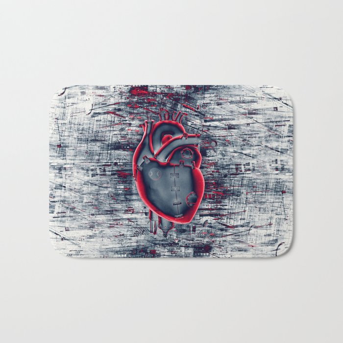 Gamer Heart BLUE CRIMSON / 3D render of mechanical heart Bath Mat