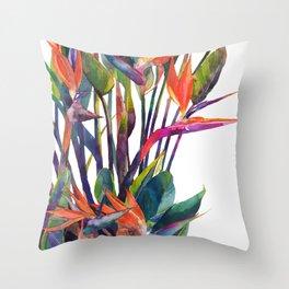 The bird of paradise Throw Pillow