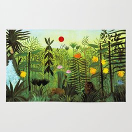 """Henri Rousseau """"Exotic Landscape with Lion and Lioness in Africa"""", 1903-1910 Rug"""