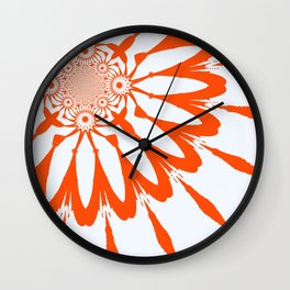 The Modern Flower White & Orange Wall Clock