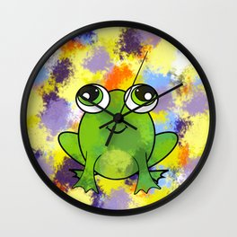 Cute frog and fresh paint Wall Clock