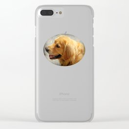Happy Golden Retriever Clear iPhone Case