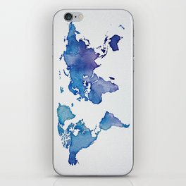Blue World Map 02 iPhone Skin