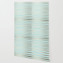 Simply Drawn Stripes White Gold Sands on Succulent Blue Wallpaper
