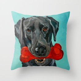 Ozzie the Black Labrador Retriever Throw Pillow