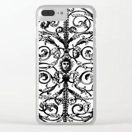 Antique Iron Gate with Face Clear iPhone Case