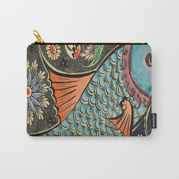 bohemian folk art orange aqua blue japanese good luck koi fish Carry-All Pouch