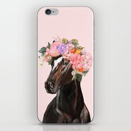 Horse with Flowers Crown in Pink iPhone Skin