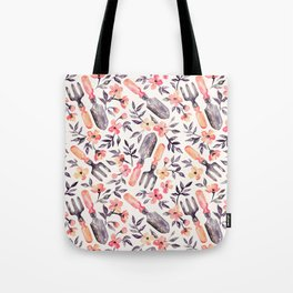 Spring Gardening - peach blossoms on cream Tote Bag