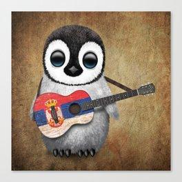 Baby Penguin Playing Serbian Flag Guitar Canvas Print