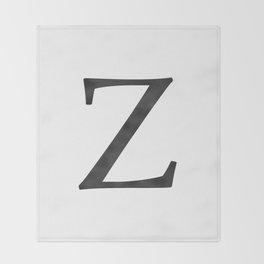 Letter Z Initial Monogram Black and White Throw Blanket
