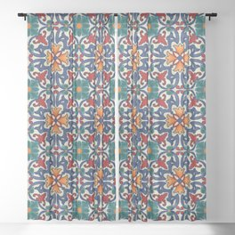 Colorful Azulejos Pattern Sheer Curtain
