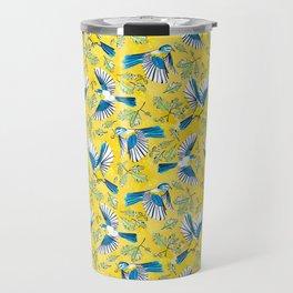 Flying Birds and Oak Leaves on Yellow Travel Mug