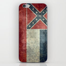 Mississippi State Flag in Distressed Grunge iPhone Skin