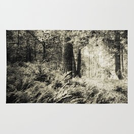 Woodland in black and white Rug